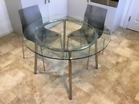 Glass top Ikea Table, ref SALMI, and 2 John Lewis Gel Dining Chairs