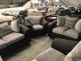 Brand new black and grey 3+2+1 sofa suite