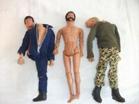 3 x Vintage 1970's Action Man Figures + some accessories ~ For Spares or Repair ~ Selling as Lot