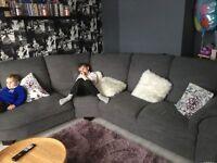 Fabric corner grey sofa