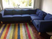 Ikea navy blue corner sofa settee