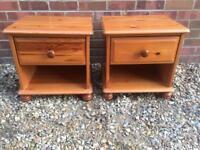 Lovely matching pair of pine bedside tables
