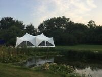 Marquee hire, Capri Marquee Hire, Ice cream tricycle, white Resin chairs and Tables
