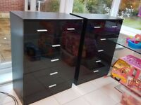 High gloss black chest of drawers