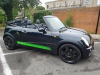 Gorgeous black Mini Cooper convertible for sale with leather seats and loads of extras
