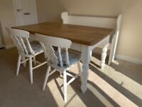 Solid Oak Church Pew and Dining Table Set