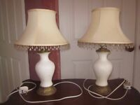 Two beautiful, eye catching bedside lamps with shades
