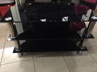 TV black glass 3 tier unit