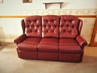 Immaculate 3 seater settee and armchair, Camden Ruby leather finish, unmarked and blemish free.