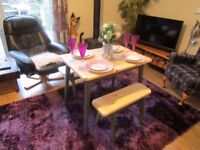 ++REDUCED++ NEW BESPOKE HAND MADE KITCHEN/DINING PLANK TOP TABLE +2 BENCHES. ALL NEW AND HAND MADE.