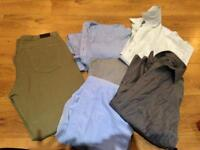 Bundle of mens large shirts and jeans