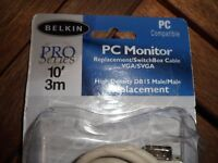 New Belkin Pro Series Pc Monitor Switchbox Extension Cable Vga/svga 10 Ft Db15