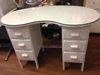 Small kidney shaped dressing table with glass top