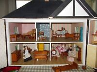 HAND MADE VINTAGE DOLLS HOUSE, WITH HANDMADE FURNITURE, AND FOUR DOLLS,IN VICTORIAN STYLE...........