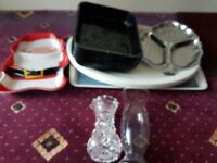 job lot kitchen clearance - lots of trays & 2 glass vases ++other bits