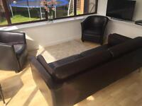 Brown leather couch and 2 chairs