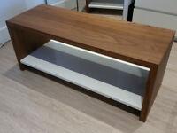 BEAUTIFUL HAND MADE WALNUT COFFE/TV UNIT/TABLE WHITE HIGH GLOSS BOTTOM FIX SHELF LED LIGHT