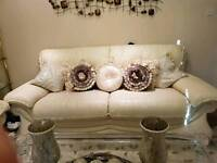 Cream leather 3 plus 2 seater sofa. Great condition