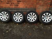 "VW PASSAT B5 b5.5 FL 2004 9 SPOKE ALLOY WHEELS TYRES RIMS SET 15"" 5X112 R15"