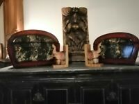 SET OF TWO DOME TOPPED CHINESE/ORIENTAL INSPIRED STORAGE BOXES (OPEN TO OFFERS)