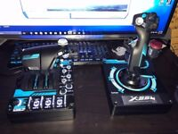 saitek x56 rhino flight sim controllers
