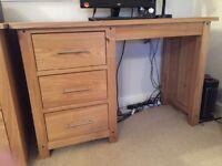 Solid Oak Desk & Swivel Chair