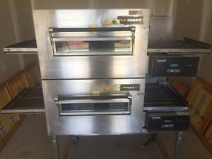 "Lincoln conveyor pizza oven - 18"" wide belt - two stacking commercial ovens"