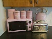 Pink microwave toaster kettle and accessories