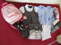 Girl's School Uniform Summer Dresses Blue Grey Bundle Backpack Tights Cardigans 5/6 Yrs