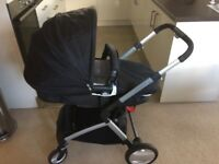 Mothercare roam pram with car seat and isofix fitting.