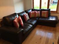 Brown leather corner sofa for sale