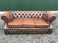 Beautiful Chesterfield Brown Leather 3 Seater Sofa