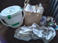 Nappies - prefold nappies, liners, outer wraps, nappy bin.