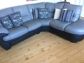 Grey and black leather corner sofa. Great condition