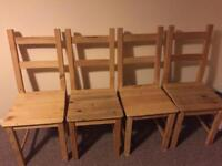 4 pine chairs from Ikea in excellent condition
