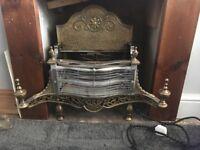 Electric freestanding brass fireplace