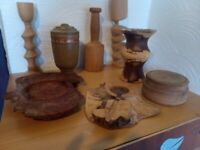 Selection wooden hand made ornaments
