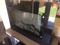 Black glass electric fire