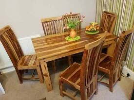 Maroccan Wood Dininig Table with Chair