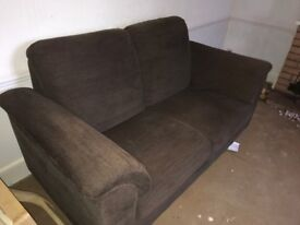 2 IKEA brown fabric sofas - 1 two seater, 1 three seater. In good condition.