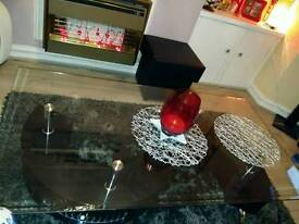 S-shape coffee table rectangular glass 2 storage high gloss plus extra brand new spare top glass
