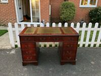 Original Chesterfield style Twin Pedestal Writing Desk with Green Leather Top Inlay & Key