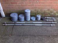 120kg of weights/barbells/bench/squat rack
