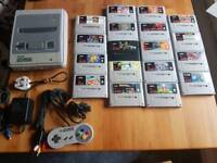 Super Nintendo SNES Console with 18 games