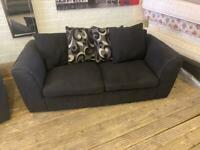 BLACK FABRIC 3 SEAT SOFA WITH ALL CUSHIONS VERY COMFY FREE DELIVERY MCR