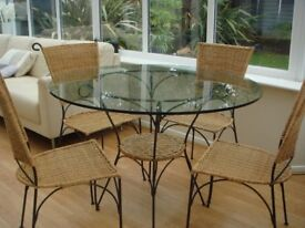 Glass Table Wicker Set With 4 Chairs Excellent Condition Dining Room Kitchen or Conservatory Table