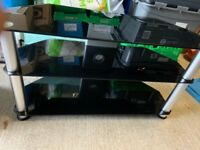 """Black Glass TV stand to fit up to 43"""" Inch"""