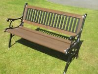Heavy Duty Garden Bench with Cast Iron Ends and Back - Like New