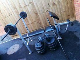Pro Fitness Weight Bench with Weights and Dumbells