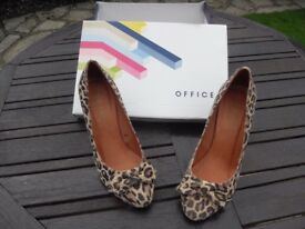 Office leopard print suede shoes. Unworn - Size 38